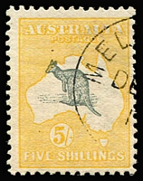 Lot 516:5/- Grey & Yellow with Kangaroo misplaced - head outside WA coast at Broome, Melbourne 'DE[3]/1[3]