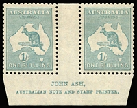 Lot 574:1/- Blue-Green Die IIB Ash imprint pair, BW #34(4)za, mildly toned gum, MVLH, Cat $350.