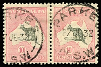 Lot 580:10/- Grey & Pink BW #49 horizontal pair cancelled by 'PARKES/27JE32/NSW' datestamps, Cat $1,400+. Scarce and fine multiple.