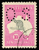 Lot 540:10/- Grey & Aniline Pink Perf 'OS' CTO, BW #48wa, variety Kangaroo slightly misplaced with ears outside of map, superb centring, Cat $200.