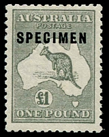 Lot 224:£1 Grey Optd 'SPECIMEN' Type C BW #53xb, well centred, MLH, Cat $850.