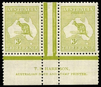 Lot 532:3d Olive Die I Harrison imprint pair BW #13(1)ze, fine MLH, Cat $2,000.