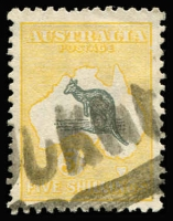 Lot 564 [2 of 2]:5/- Grey & Yellow x2 examples with varieties Broken coast near Sydney [L2], and Kangaroo's foot broken & pointed tail [L52] BW #44(D)d,(V)n, parcel cancels, Cat $875. (2)