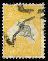 Lot 564 [1 of 2]:5/- Grey & Yellow x2 examples with varieties Broken coast near Sydney [L2], and Kangaroo's foot broken & pointed tail [L52] BW #44(D)d,(V)n, parcel cancels, Cat $875. (2)