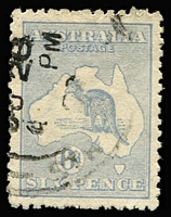 Lot 533:6d Pale Ultramarine Die IIB variety White flaw at top of kangaroo's neck BW #20(U)d, few nibbed perfs, well centred, postmark does not impinge on flaw, Cat $250.