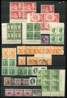 Lot 329 [2 of 2]:KGV-Early QEII duplicated array in stockbook, some modest pickings in KGV issues, KGV/QEII era with mint multiples including a few imprint multiples. Possibilities for variety hunters. (Many 100s).