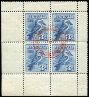 Lot 224:1928 3d Kookaburra Miniature Sheet CTO with exhibition cancel in red BW #133MSw, few very mild tone spots, full unmounted gum, Cat $450.