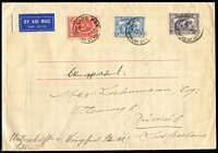 "Lot 758 [1 of 2]:1931 Kingsford Smith set of 3 BW #141-43 on 1932 (1 Jul) airmail cover to Switzerland, stamps tied by 'LATE FEE/SPENCER STREET' datestamps, signed by ""C Kingsford Smith"". Unusual."