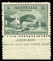 Lot 228:1932 5/- Harbour Bridge Ash imprint single BW #148, fine MLH, Cat $550+.