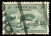 Lot 761:1932 5/- Harbour Bridge BW #148, few blunt/thinned perfs, parcels cancel, Cat $500 commercially used.