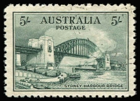 Lot 768:1932 5/- Harbour Bridge CTO BW #148w, very well centred, without gum, Cat $200.