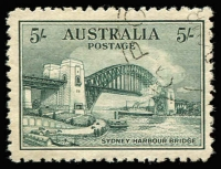 Lot 229:1932 5/- Harbour Bridge CTO BW #148w, well centred, without gum, Cat $200.
