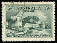 Lot 771:1932 5/- Harbour Bridge CTO BW #148w, deep colour, excellent centring, without gum, Cat $200.
