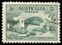 Lot 770:1932 5/- Harbour Bridge CTO BW #148w, very well centred, without gum, Cat $200.