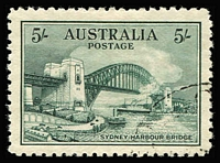 Lot 588:1932 5/- Sydney Harbour Bridge BW #148, excellent centring, CTO, without gum, Cat $300.