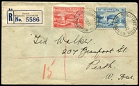 Lot 759 [1 of 2]:1932 Bridge 2d & 3d BW #147 & #149 tied to registered local cover by Registered Perth '14MR32' FDI datestamps.