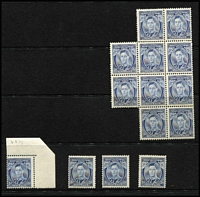 Lot 786 [2 of 3]:1937-41 3d Blue KGVI selection comprising Die I BW #192 x26 (including blocks of 12 & 10), Die II chalk-surfaced paper #193 x15 (including two blocks of four & imprint pair), Die II unsurfaced paper #194 x5 (including block of 4), Die III #195 x24 (including blocks of 4 and 6), mostly fine fresh MUH, Retail $3,500++. (42)
