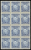 Lot 786 [1 of 3]:1937-41 3d Blue KGVI selection comprising Die I BW #192 x26 (including blocks of 12 & 10), Die II chalk-surfaced paper #193 x15 (including two blocks of four & imprint pair), Die II unsurfaced paper #194 x5 (including block of 4), Die III #195 x24 (including blocks of 4 and 6), mostly fine fresh MUH, Retail $3,500++. (42)