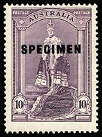 Lot 764 [2 of 2]:1938-49 10/- & £1 Robes Optd 'SPECIMEN' BW #214x&216x, fresh MUH, Cat $1,500+. (2)