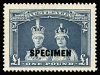 Lot 764 [1 of 2]:1938-49 10/- & £1 Robes Optd 'SPECIMEN' BW #214x&216x, fresh MUH, Cat $1,500+. (2)