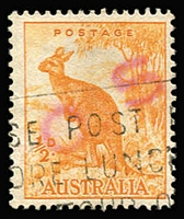 Lot 762 [2 of 2]:1938-66 No Wmk ½d Orange Perf 14¾x14 mint and used examples (the latter with slogan cancel) handstamped diagonally with large 'O.S.' in red, unauthorized use by the NSW Dept of Agriculture due to shortage of 'G/NSW' issues. Rare as such. (2)