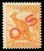 Lot 762 [1 of 2]:1938-66 No Wmk ½d Orange Perf 14¾x14 mint and used examples (the latter with slogan cancel) handstamped diagonally with large 'O.S.' in red, unauthorized use by the NSW Dept of Agriculture due to shortage of 'G/NSW' issues. Rare as such. (2)