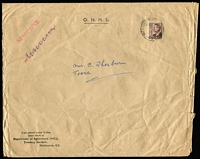 Lot 595:1951-54 2½d Chocolate KGVI BW #250 perf 'VG' solo franking on Dept of Agriculture envelope endorsed 'NEWSPAPER' likely original content was Journal of Agriculture (advertised on flap), some edge faults. Rare solo franking.