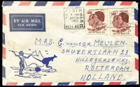 Lot 420:1963 2/3d Royal Visit BW #393 x2 paying double airmail rated on 1963 (Feb 21) small airmail cover to Holland, stamps tied by Perth Royal Visit slogan cancel.