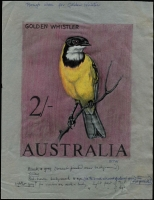 Lot 490:1965-66 2/- Golden Whistler coloured pencil sketch, similar to issued design, in black, grey, yellow & pink, on tracing paper (180x240mm) BW #418E(1), intialled 'BTW' at base with annotations beneath, Cat $3,000. Wonderful piece of artwork, of considerable appeal to bird thematicists. [From the estate of Betty Temple-Watts, the designer of this issue]