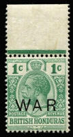 Lot 1313 [2 of 4]:WWI War Tax Overprint Collection in four stockbooks with issues from Antigua, Barbados, Bermuda, British Guiana, British Honduras, BVI, Ceylon, Dominica, Fiji, Gibraltar, Gilbert & Ellice, Malta, New Zealand, St Helena, St Kitts, St Lucia, St Vincent, Trinidad & Tobago including 1916 1d complete sheet (with Missing stop variety), etc, many positional multiples, some control numbers, overprint varieties, 'SPECIMEN' overprints, few used, mostly MUH. Good lot. (many 100s)