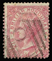 Lot 1323:1865 No Wmk P14 6d rose SG #3, fine used, Cat £170.