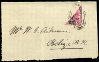 Lot 1655:1888-91 2c on 1d carmine Bisect on cover front SG #37a, Cat £110.
