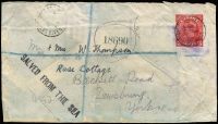 Lot 1474 [1 of 2]:1940 (May 25) registered use of 3c Stationery Envelope (additional stamp washed off) from Vancouver to Dewsbury, England, carried on board SS Eros, which was torpedoed by a German submarine off the NW Coast of Ireland, and subsequently beached with the aid of tugs, 'SALVED FROM THE SEA' cachet Hoggarth & Gwynn Eros Type 2 cachet applied by Liverpool Post Office with poorly struck '27JUL/40' Liverpool transit datestamp at top left, 'PASSED BY CENSOR' handstamp, resealing tape on reverse; front & back of cover have separated.
