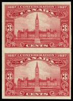 Lot 513 [3 of 5]:1927 60th Anniv of Confederation - Commemorative Issue 1c to 12c set SG #266-70, variety Imperforate pairs, see Gibbons footnote, fine MVLH/MUH, Cat £600. (5 pairs)