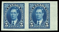 Lot 1330:1937-38 KGVI Perf 12 5c blue SG #361 variety Imperforate pair fine MVLH, see Gibbons footnote, Cat £375.