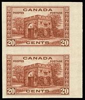 Lot 1331:1937-38 Pictorials Perf 12 20c Fort Garry Gate SG #365, variety Imperforate pair, fine MVLH, see Gibbons footnote, Cat £700.