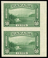 Lot 1470:1937-38 Pictorials Perf 12 50c Vancouver Harbour SG #366 variety Imperforate pair, fine MVLH, see Gibbons footnote, Cat £700.
