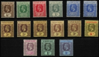 Lot 1476 [3 of 3]:1912-20 KGV Wmk MCA ¼d to 10/- set SG #40-52 including some low denomination die changes or shades, fine mint with key 10/- MVLH, Cat £250+. (18)