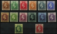 Lot 1477 [2 of 2]:1914-26 KGV Wmk Script ¼d to 10/- set SG #69-83 plus 10/- MCA SG #67, fine mint, Cat £215. (15)