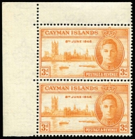 Lot 1479:1946 Victory 3d orange-yellow variety Stop after '1946' [R2/1] SG #128a in positional corner pair, MUH.