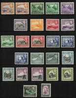 Lot 1337 [2 of 2]:1938-51 Pictorials ¼pi to £1 set SG #151-163, with a few shades including listed 18pi, some values MUH including 45pi to £1, Cat £270. (26)
