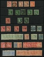 Lot 2:Antigua 1863-87 QV Selection with 1863-67 Small Star 1d rosy mauve x2 used, 1d dull rose unused (Cat £250) & used, 1d vermilion unused, 6d green (shades) x5 used, 1872 Crown CC P12½ 1d & 6d x2, 1876 Crown CC P14 1d x4, 1879 4d blue x2, 1882 Crown CA 2½d red-brown mint (toning, Cat £190) & 4d used, 1884-87 with mint 2½d x4 and 4d chestnut x8, condition a bit mixed, Cat £1,000+. (57)