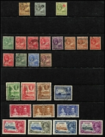 Lot 3 [2 of 2]:Antigua 1903-35 Selection with 1908-17 1/- Seal used (Cat £70), 1913 KGV 5/- mint (Cat £95), 1921-29 MCA 3d, 1/- & 5/- (Cat £50) used, 1932 Tercentenary ½d to 1½d & 2½d used, 1935 Jubilee mint, generally fine, Cat £250+. (48)