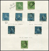 Lot 5 [2 of 3]:Barbados 1852-81 Britannias on album pages with 1855-58 imperf (½d green) SG #8 unused x3 and (1d) pale blue #9 unused, 1860 Pin-Perf array mostly misidentified 1861-70 Rough Perf issues, 1861 Clean-Cut Perf (½d) unused x4 & used x3, 1d blue/pale blue x6 used, plus a few 1875-78 issues unused; also reprint of 1852-58 imperf issues x2 in grey-blue on thick card; condition variable, high catalogue value. Personal inspection recommended. (36)