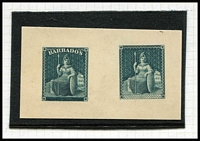 Lot 5 [3 of 3]:Barbados 1852-81 Britannias on album pages with 1855-58 imperf (½d green) SG #8 unused x3 and (1d) pale blue #9 unused, 1860 Pin-Perf array mostly misidentified 1861-70 Rough Perf issues, 1861 Clean-Cut Perf (½d) unused x4 & used x3, 1d blue/pale blue x6 used, plus a few 1875-78 issues unused; also reprint of 1852-58 imperf issues x2 in grey-blue on thick card; condition variable, high catalogue value. Personal inspection recommended. (36)