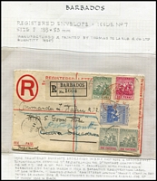 "Lot 5 [2 of 4]:Barbados Postal Stationery unused & used with Postal Cards including 1891 used of 1½d Card H&G #4 to UK with 'LATE FEE' handstamp scored through, 1893 local use of ½d Card H&G #2, 1895 used of 1d Britannia Card H&G #9 to Switzerland; Registration Envelopes 1904 use of 2d Britannia Size F H&G #10 uprated for overseas transit to ""HMS Good Hope, Cruiser Squadron"" redirected to Portsmouth, 1905 used of 2d Britannia Size G H&G #10a uprated for transit to USA; Wrappers including 1902 ½d brown H&G #4 optd 'SPECIMEN'; condition variable, generally fine. Good lot. (24 items)"