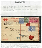 "Lot 5 [3 of 4]:Barbados Postal Stationery unused & used with Postal Cards including 1891 used of 1½d Card H&G #4 to UK with 'LATE FEE' handstamp scored through, 1893 local use of ½d Card H&G #2, 1895 used of 1d Britannia Card H&G #9 to Switzerland; Registration Envelopes 1904 use of 2d Britannia Size F H&G #10 uprated for overseas transit to ""HMS Good Hope, Cruiser Squadron"" redirected to Portsmouth, 1905 used of 2d Britannia Size G H&G #10a uprated for transit to USA; Wrappers including 1902 ½d brown H&G #4 optd 'SPECIMEN'; condition variable, generally fine. Good lot. (24 items)"