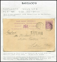 "Lot 5 [1 of 4]:Barbados Postal Stationery unused & used with Postal Cards including 1891 used of 1½d Card H&G #4 to UK with 'LATE FEE' handstamp scored through, 1893 local use of ½d Card H&G #2, 1895 used of 1d Britannia Card H&G #9 to Switzerland; Registration Envelopes 1904 use of 2d Britannia Size F H&G #10 uprated for overseas transit to ""HMS Good Hope, Cruiser Squadron"" redirected to Portsmouth, 1905 used of 2d Britannia Size G H&G #10a uprated for transit to USA; Wrappers including 1902 ½d brown H&G #4 optd 'SPECIMEN'; condition variable, generally fine. Good lot. (24 items)"