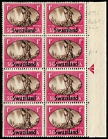 Lot 16 [3 of 3]:British Commonwealth 1946 Victory varieties selection including Barbabos 1½d Two flags on tug SG #262a in marginal block of 4, New Zealand 3d Complete rudder SG #671a in marginal block of 4, Swaziland 1d Barbed flaw SG #39a in marginal block, plus six other flaws unlisted in Gibbons, fine mint or MUH. (9 items)