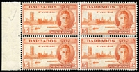 Lot 16 [1 of 3]:British Commonwealth 1946 Victory varieties selection including Barbabos 1½d Two flags on tug SG #262a in marginal block of 4, New Zealand 3d Complete rudder SG #671a in marginal block of 4, Swaziland 1d Barbed flaw SG #39a in marginal block, plus six other flaws unlisted in Gibbons, fine mint or MUH. (9 items)